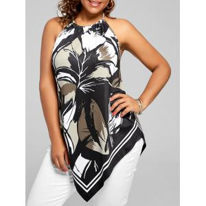Asymmetric Halter Printed Plus Size Top - Black - 2xl
