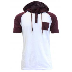 Panel Design Hooded Drawstring Raglan Sleeve T-shirt