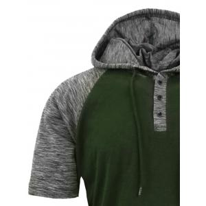 Panel Design Hooded Drawstring Raglan Sleeve T-shirt - ARMY GREEN L