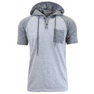 Panel Design Hooded Drawstring Raglan Sleeve T-shirt - Light Gray - L
