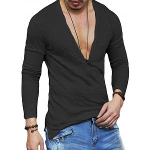 Buttons Design V Neck Long Sleeve T-shirt