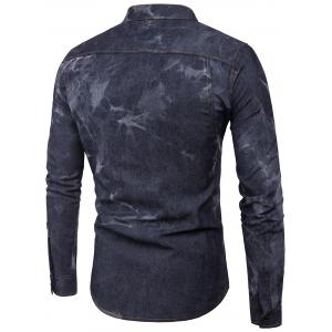 Long Sleeve Edging Tie Dye Denim Shirt - BLACK XL