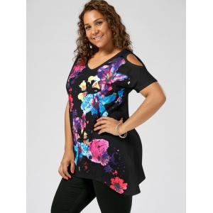 Splatter Paint Plus Size Cold Shoulder T-shirt - BLACK XL