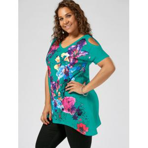 Splatter Paint Plus Size Cold Shoulder T-shirt - LAKE GREEN 5XL