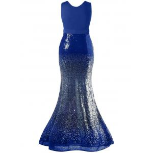 Plus Size Sequins Fishtail Maxi Evening Prom Dress -