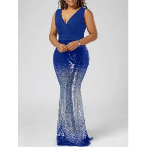 Plus Size Sequins Fishtail Maxi Evening Dress