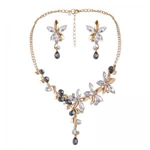 Faux Crystal Flower Earring and Necklace Set - White