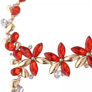 Faux Crystal Flower Earring and Necklace Set -