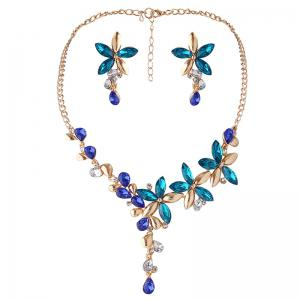 Faux Crystal Flower Earring and Necklace Set - Blue