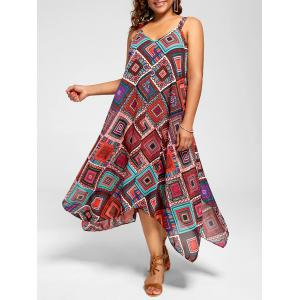 Spaghetti Strap Geometric Printed Plus Size Handkerchief Dress - Multi - 3xl