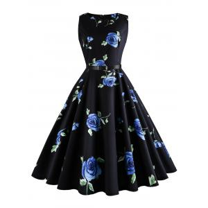 Plus Size Floral Print Retro Dress - Blue - 5xl