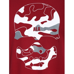 Skull Print Graphic Camo Men Tee - RED 3XL