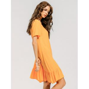 Ruffled Hem Keyhole Casual Dress -
