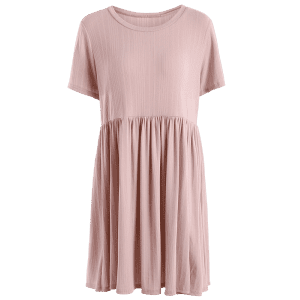 Ruffled Seam Knitting Mini Dress -