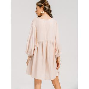 Batwing Sleeve Ruffled Seam Mini Dress -