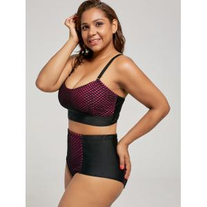 Wireless Fishnet Mesh Plus Size High Waist Bikini -