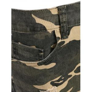 Camo Distressed Knee Length Shorts -