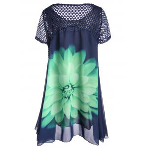 Plus Size Floral Chiffon Long Top -
