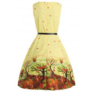 Sleeveless Printed A Line Dress with Belt -