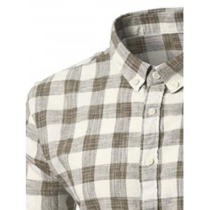 Button-Down Long Sleeve Plaid Shirt -