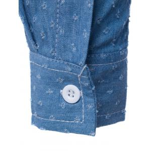 PU Leather Embellished Pocket Holes Design Denim Shirt -
