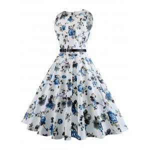 Floral Print Plus Size Vintage Swing Dress with Belt -