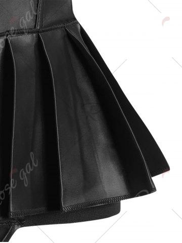 Latest Pleated Lace-Up Bowknot Corset - 2XL BLACK Mobile