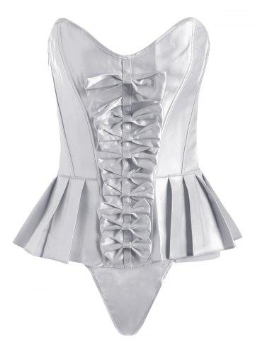 Pleated Lace-Up Bowknot Corset - White - S