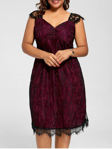 Lace Mini A Line Plus Size Cocktail Dress - Wine Red - 2xl