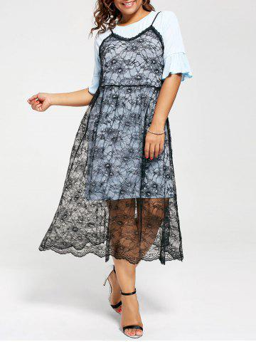 Chic Long Tee and Plus Size Lace Slip Dress LIGHT BLUE 5XL