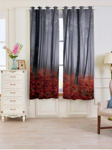 Unique 2 Panels Blackout Forest Maple Leaf Window Curtains RED W53 INCH * L63 INCH