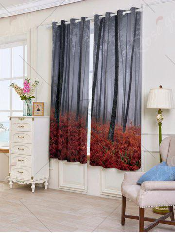 Fashion 2 Panels Blackout Forest Maple Leaf Window Curtains - W53 INCH * L63 INCH RED Mobile