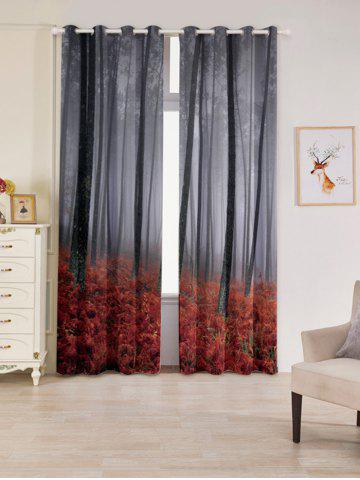 Cheap 2 Panels Blackout Forest Maple Leaf Window Curtains