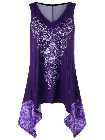 Shop Plus Size Sleeveless Asymmetrical Graphic Top PURPLE XL