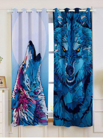 Latest 2 Panel Wolf Animal Window Screen Blackout Curtain