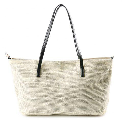 Trendy Straw Weave Shopper Bag WHITE