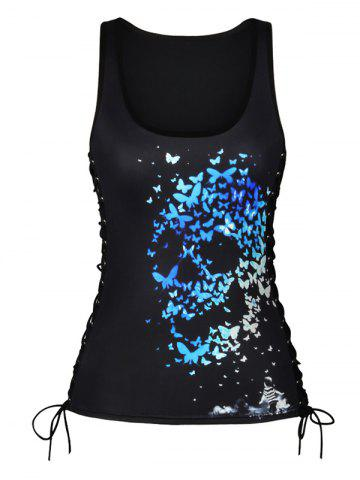 Affordable Lace Up Skulls Butterfly Print Tank Top - M COLORMIX Mobile