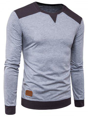 Long Sleeve Color Block Panel PU Leather Applique T-shirt - Light Gray - 2xl