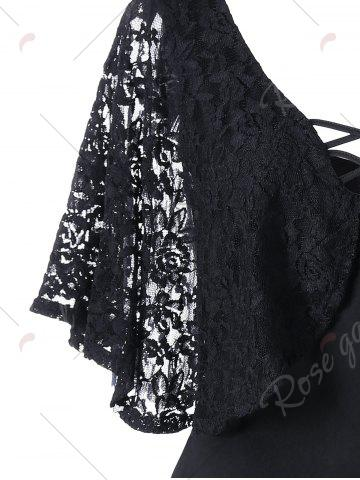 Outfit Lace Batwing Sleeve Plus Size Bodycon Dress - 2XL BLACK Mobile