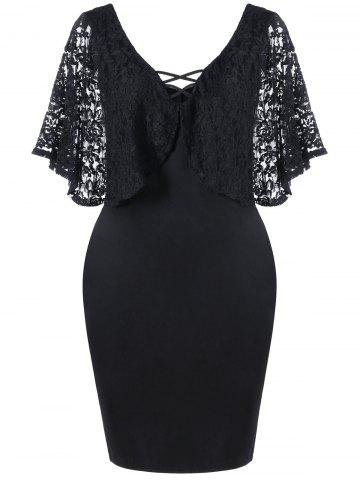 Lace Batwing Sleeve Plus Size Bodycon Dress - Black - 5xl