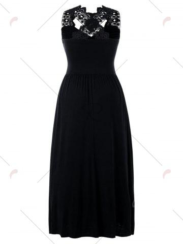 Online Plus Size Empire Waist Lace Insert Maxi Dress - 5XL BLACK Mobile