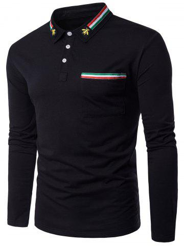 Bee Embroidered Stripe Braid Embellished Polo Collar T-shirt - Black - M