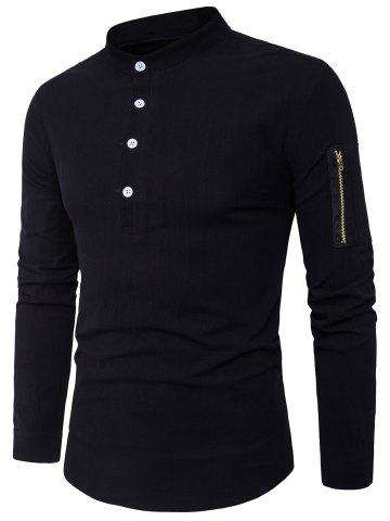 Black L Half Buttons Zip Up Pocket Long Sleeve Shirt | RoseGal.com