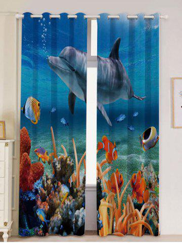 Unique 2Pcs Ocean Dolphin Blackout Window Curtains