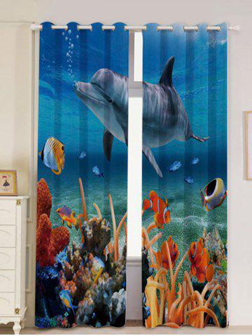 Outfits 2Pcs Ocean Dolphin Blackout Window Curtains - W53 INCH * L96.5 INCH BLUE Mobile