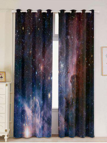 Trendy 2 Panels Universe Space Blackout Window Curtains DEEP BLUE W53 INCH * L84.5 INCH