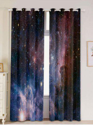 Cheap 2 Panels Universe Space Blackout Window Curtains - W53 INCH * L96.5 INCH DEEP BLUE Mobile