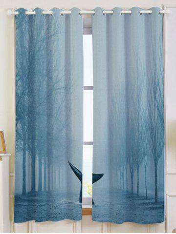 2 Pieces Blackout Screen Mist Whale Window Curtain - Light Blue - W53 Inch * L63 Inch