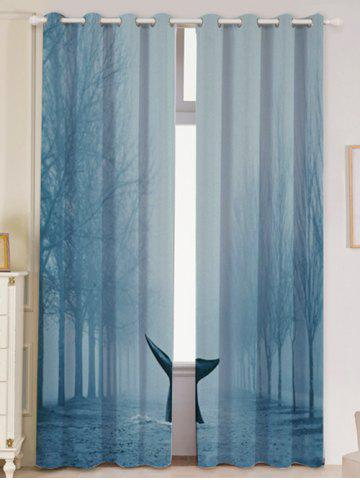 Discount 2 Pieces Blackout Screen Mist Whale Window Curtain LIGHT BLUE W53 INCH * L96.5 INCH