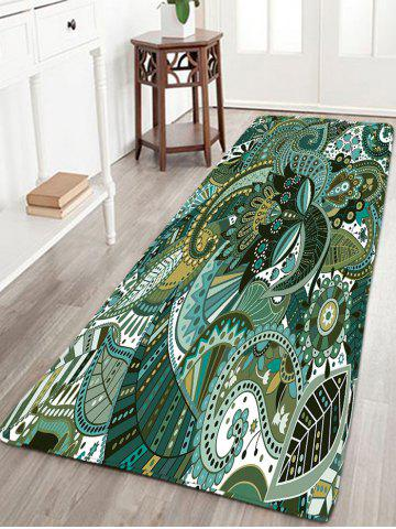 Best Bohemian Floral Print Flannel Antiskid Rug - W16 INCH * L47 INCH TURQUOISE Mobile
